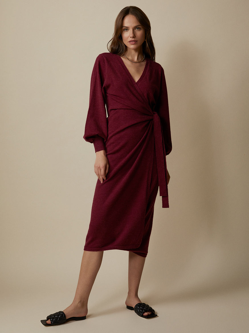 Thea Alpaca Blend Wrap Dress by KITRI Studio
