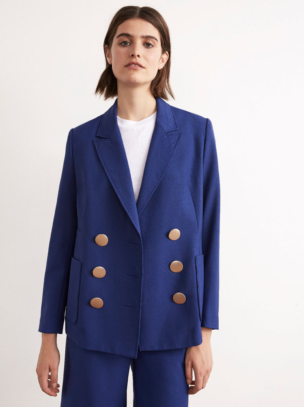 Tilly Blue Tailored Statement Button Blazer by KITRI Studio