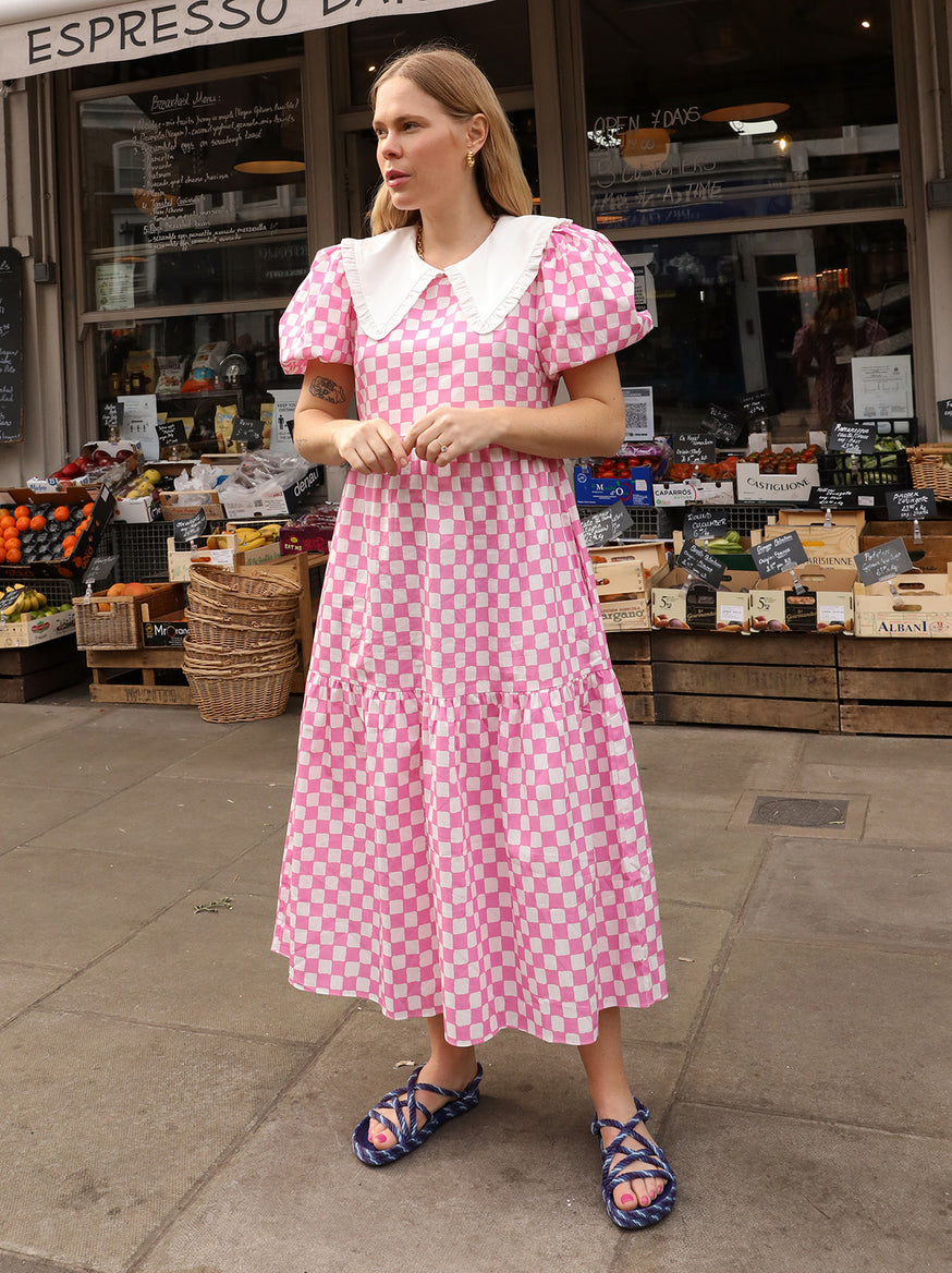 Tracy Pink Checker Dress by KITRI Studio
