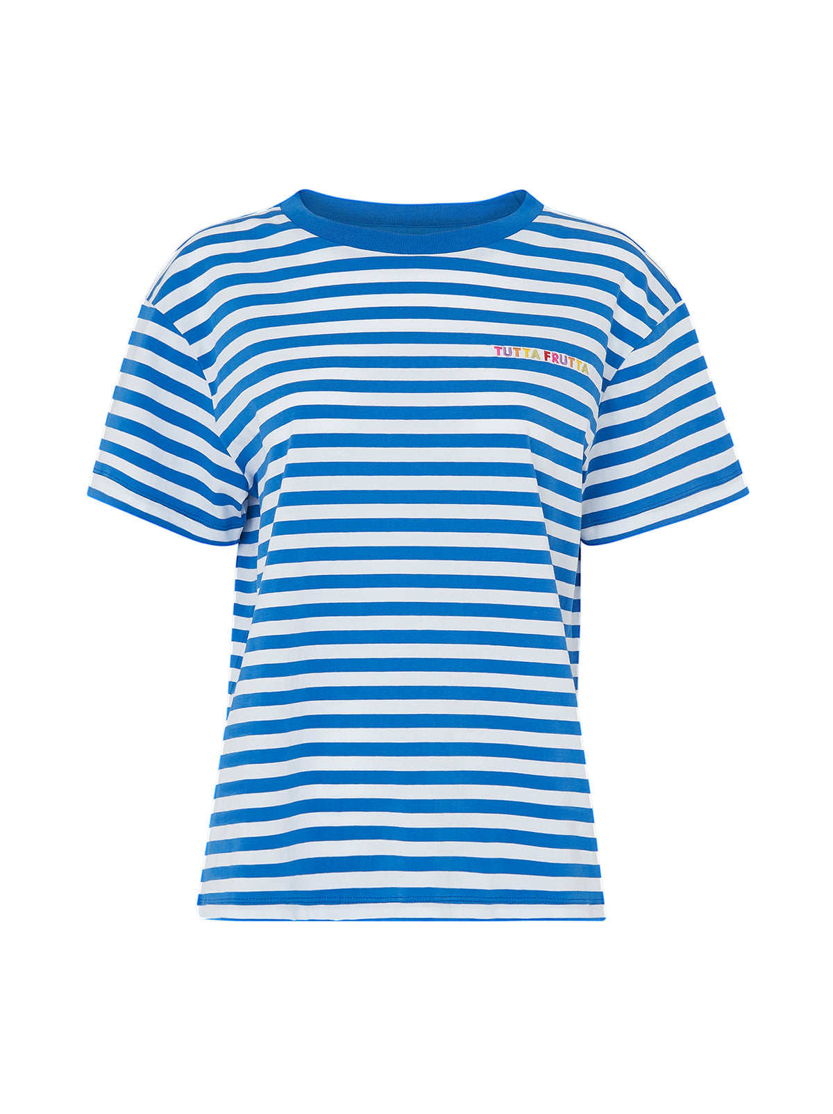 Tutta Frutta Blue Striped Cotton Short Sleeve T-shirt by KITRI Studio