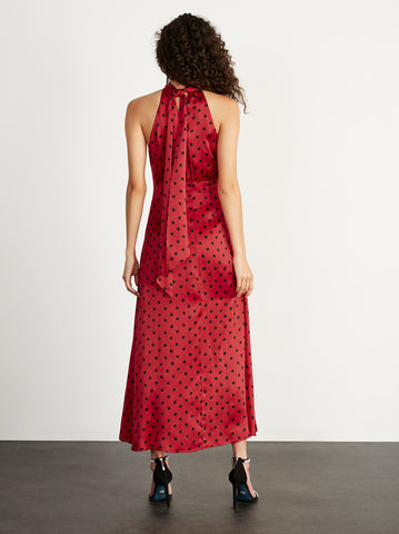 Vera Red Polka Dot Halterneck Dress