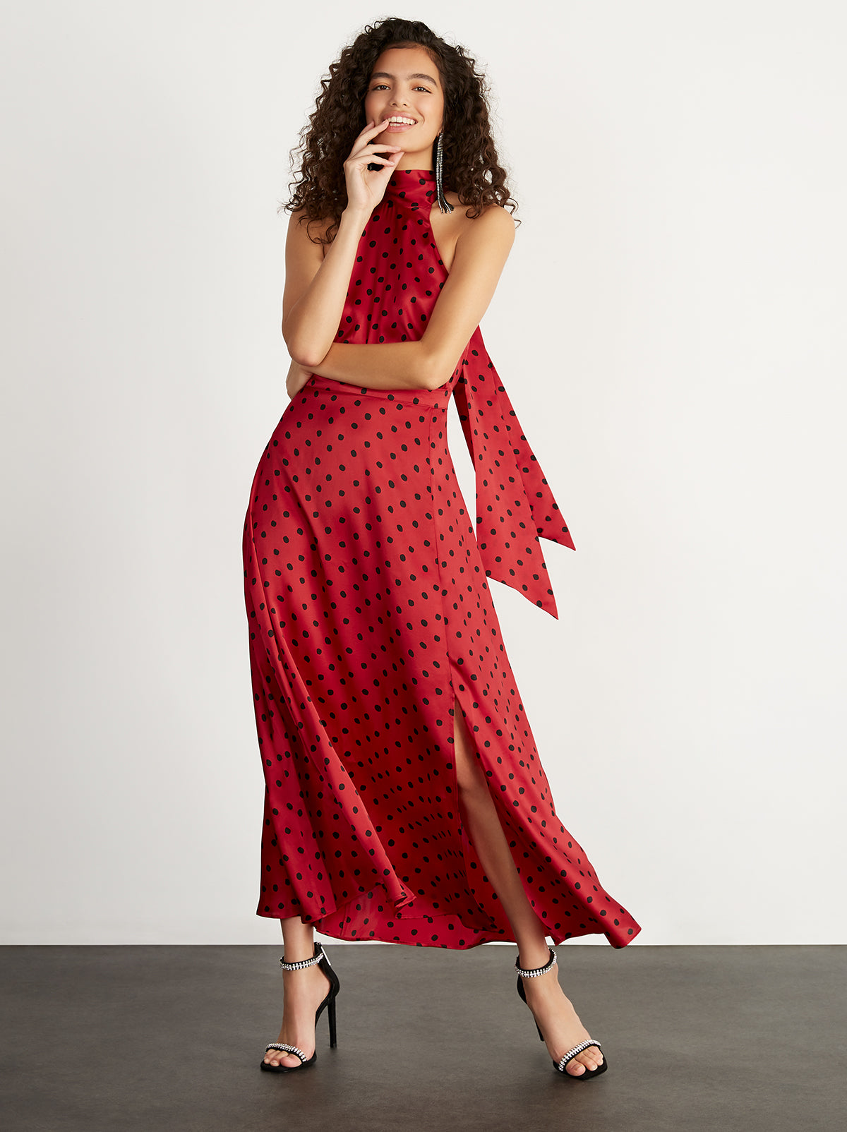 Vera Red Polka Dot Halterneck Dress by KITRI Studio