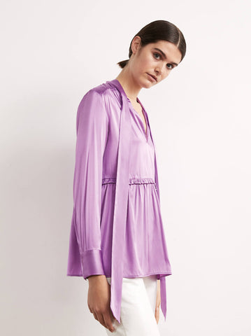 Verity Purple Silk Tie Neck Blouse by KITRI Studio