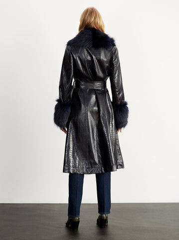 Veronica Navy Mock Croc Coat by KITRI Studio