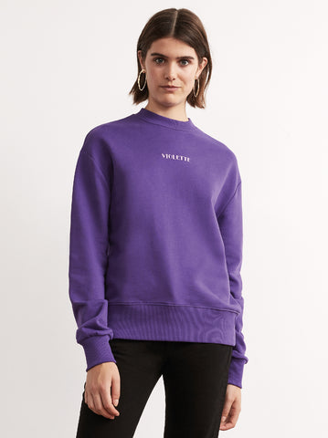 Violetta Purple Cotton Embroidered Sweatshirt by KITRI Studio