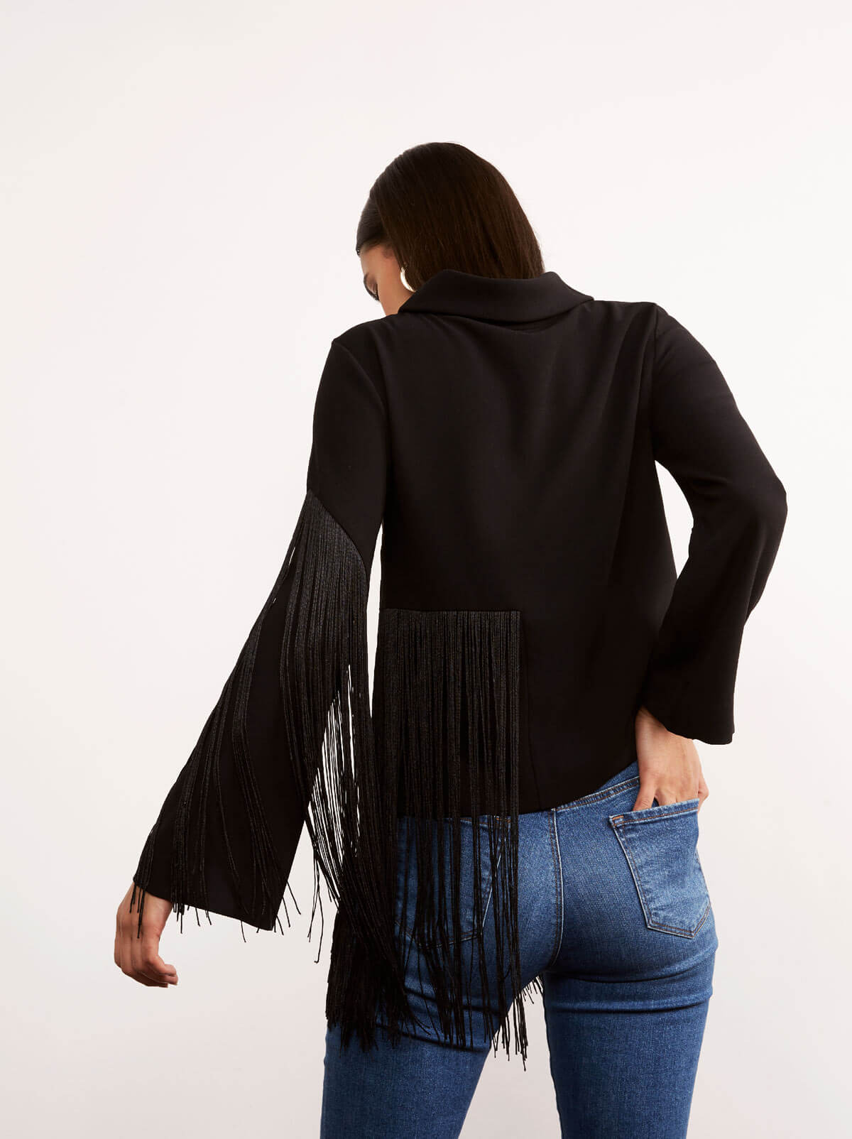 Viviana Black Long Sleeve Tassel Top by KITRI Studio