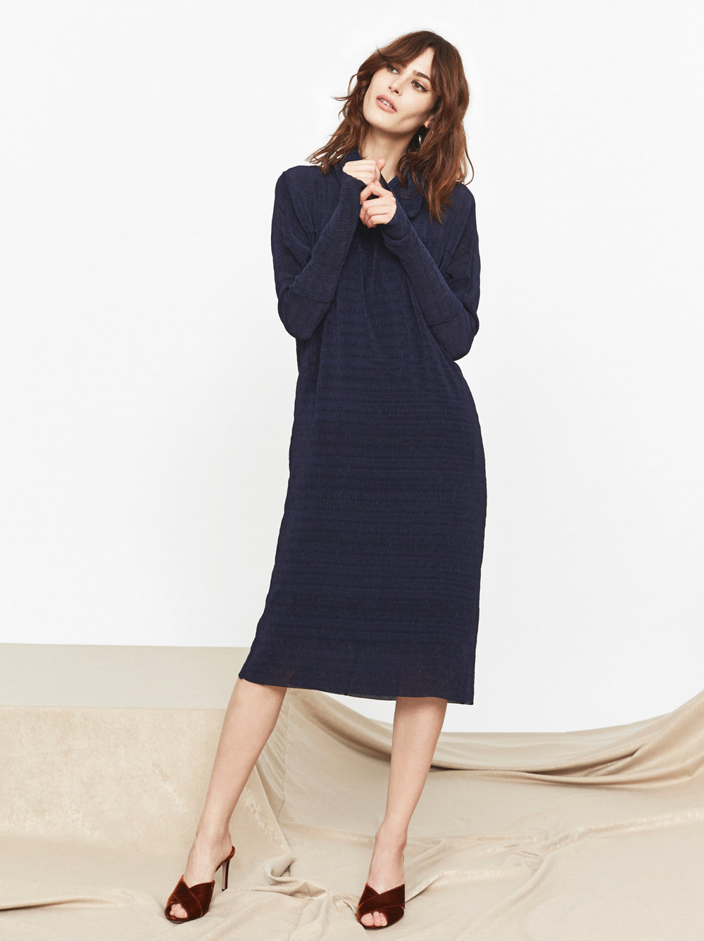 Wendy Navy Plisse Midi Dress by KITRI Studio
