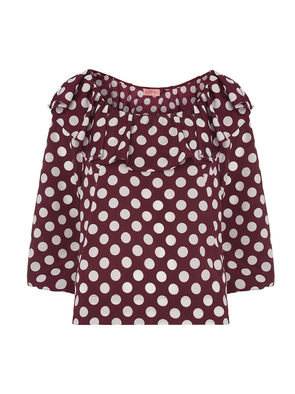 Willa Aubergine Polka Dot Long Sleeve Top by KITRI Studio