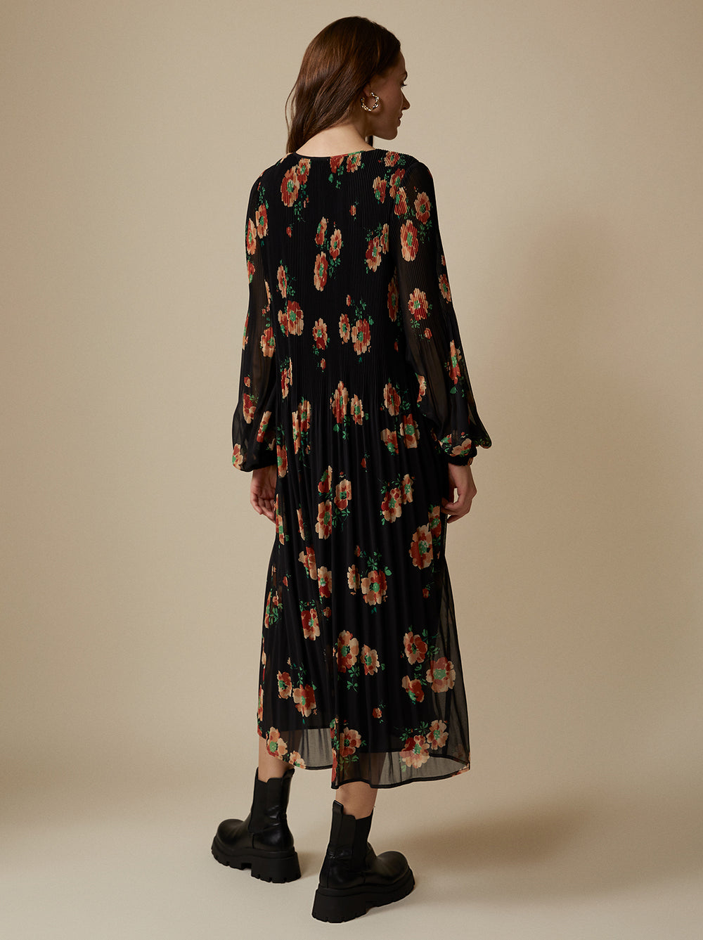 Willow Black Floral Pleated Dress by KITRI Studio