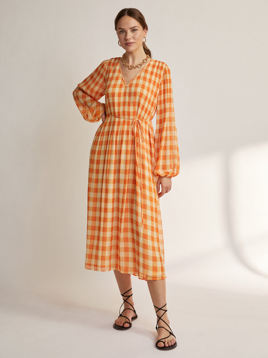 Willow Orange Gingham Pleated Dress by KITRI Studio