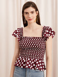 Winslow Aubergine Polka Dot Smocked Top by KITRI Studio