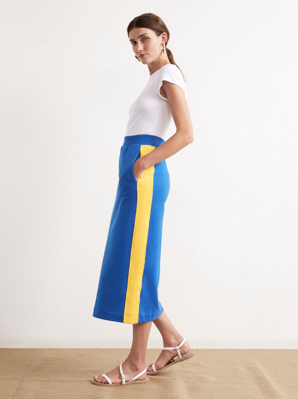 Yvonne Cotton Contrast Stripe Midi Sweat Skirt by KITRI Studio