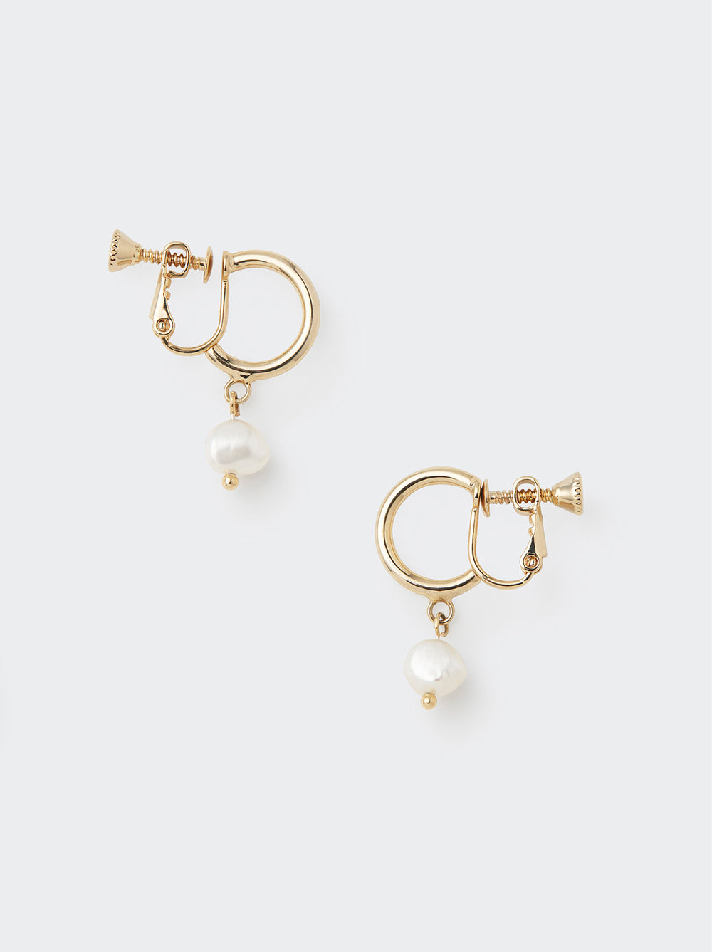 Pearl Drop Gold Screw Back Earrings