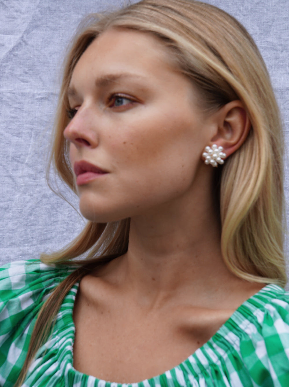 Pearl Cluster Clip On Earrings