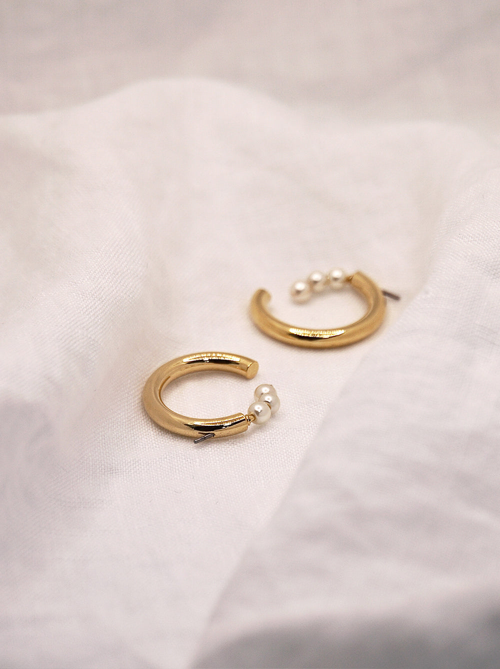 Triple Pearl Gold Hoop Earrings