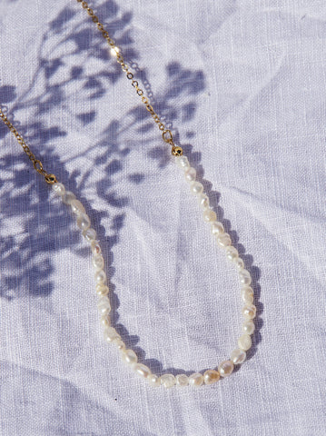 Gold and Pearl Necklace Set