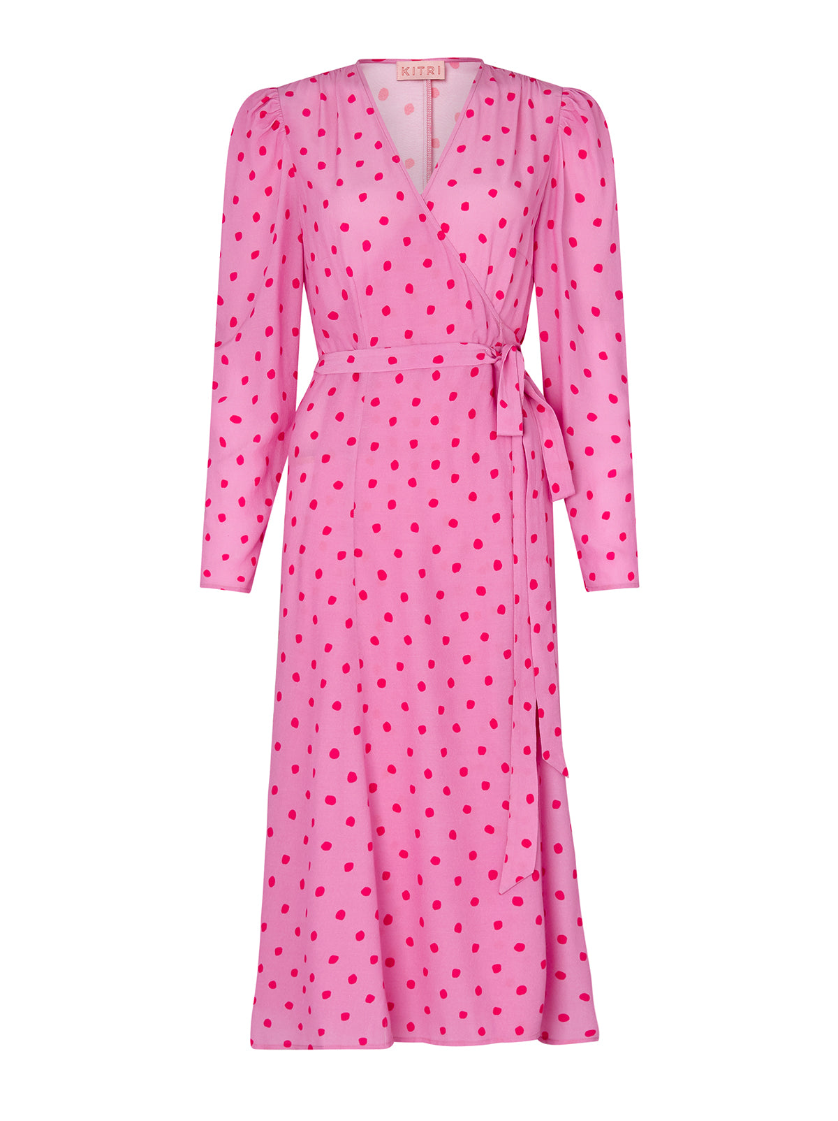 Stephanie Pink Polka Dot Wrap Dress