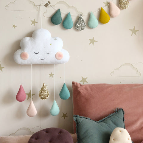 Large Sleepy Cloud (with custom colour drops)