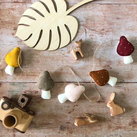 *NEW* Toadstool Garland - Rustic Twine- Choose your own colours