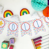 Rainbow and Cloud Garland Longer- in custom colours. Made to order within 4 weeks