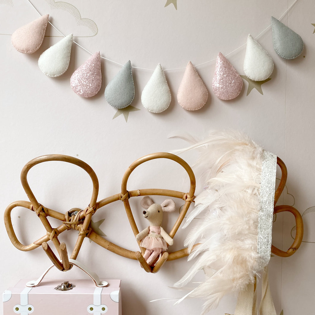 Droplet garland - Blush glitter with pale grey . Made to order.