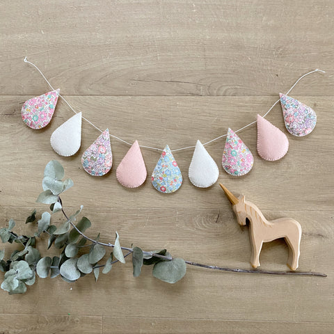 Droplet Garland - Mixed Liberty with off white and blush. Made to order within 4 weeks