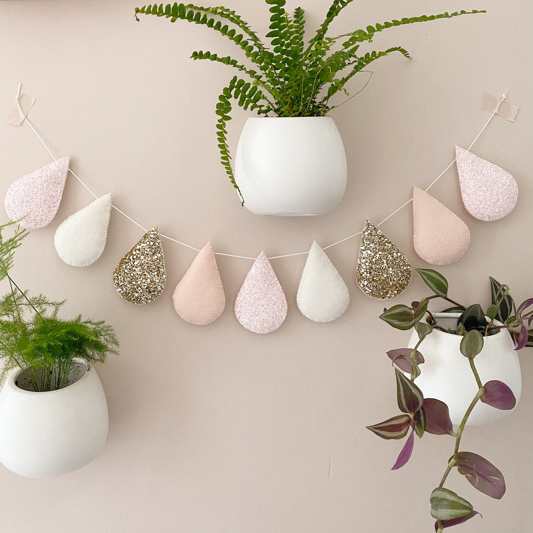Droplet garland- gold glitter, blush, off white, blush glitter. Made to order.