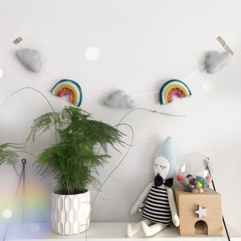 Rainbow + Cloud Garland (Choose your colours)