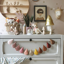 Load image into Gallery viewer, Droplet garland- (Bestseller) blush, pinks, mustard and warm brown tones. Made to order.