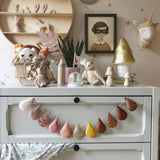 Droplet garland- (Bestseller) blush, pinks, mustard and warm brown tones. Made to order within 4 weeks
