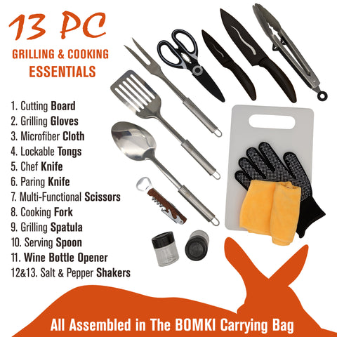 BOMKI 13 PCS Grilling Camping Cooking Utensils