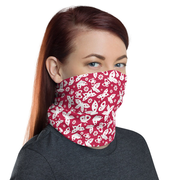 Red Butterfly Multifunctional Face Mask Headwear Neck Gaiter All Elements Protection - butiksonline