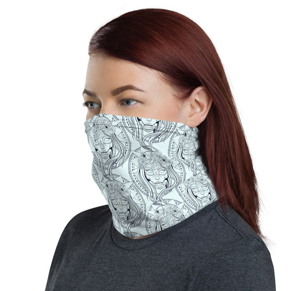 Sugar Skull Multifunctional Face Mask Headwear Neck Gaiter All Elements Protection - Sky Blue - butiksonline