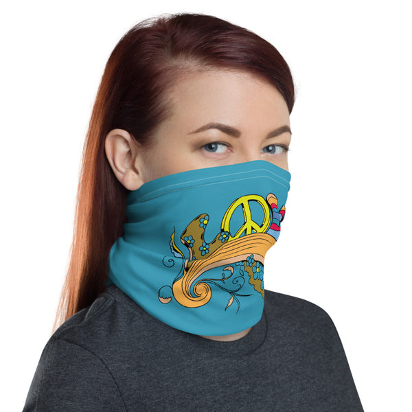 Love Multifunctional Face Mask Headwear Neck Gaiter All Elements Protection - Blue - butiksonline