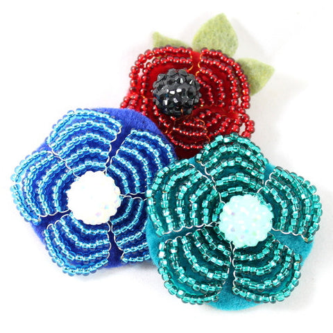 Trio of Flowers Brooch Kit – Makes 3 Brooches