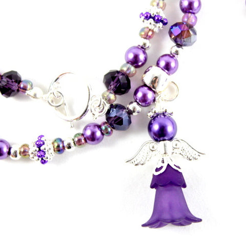 Charity 'Lilibet' Crystal Lucite Angel & Pearl Kit - Purple