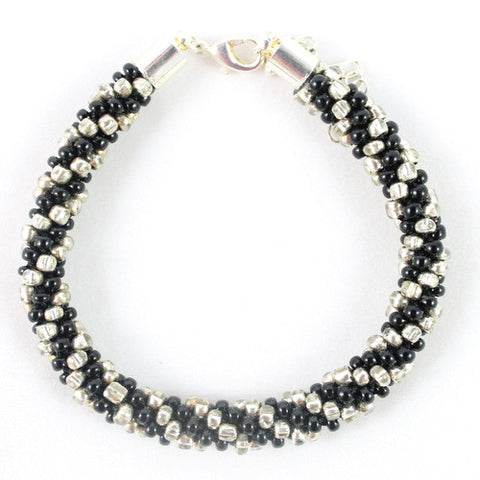 Beaded Kumihimo Bracelet - Black and Silver