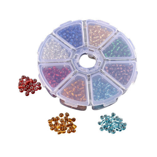 Size 8 Seed Bead Collection in Storage Pot