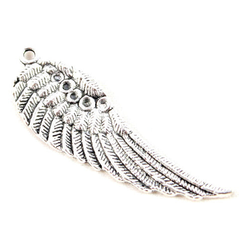 Angel Feather Wing Charm - Silver