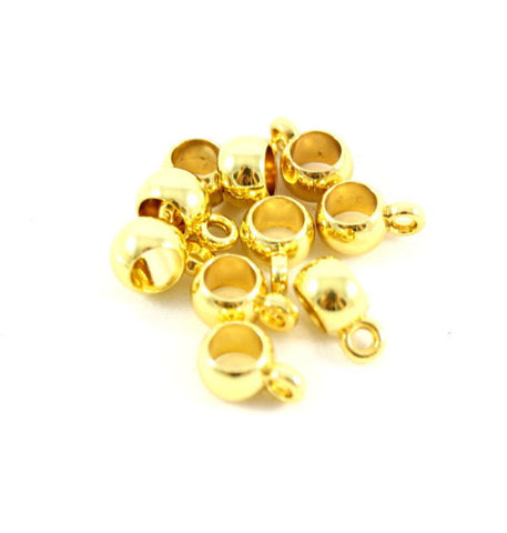 Bail Kumihimo Charm Dropper 6mm - Gold Plated