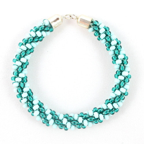Beaded Kumihimo Bracelet - Teal