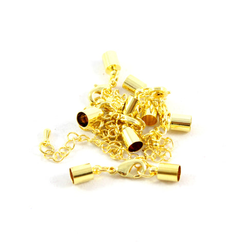 Kumihimo Style Bell Closer with Extension - Gold 7mm