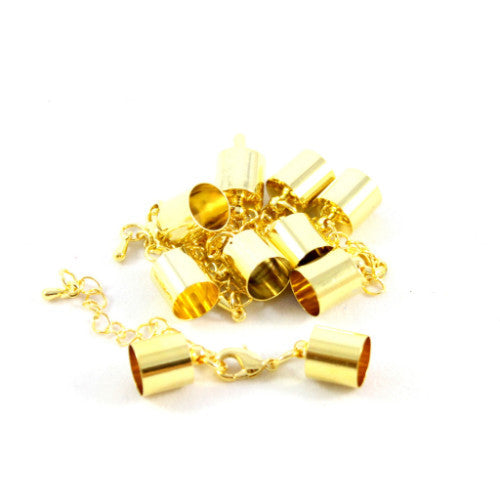 Kumihimo Style Bell Closer with Extension - Gold 9mm