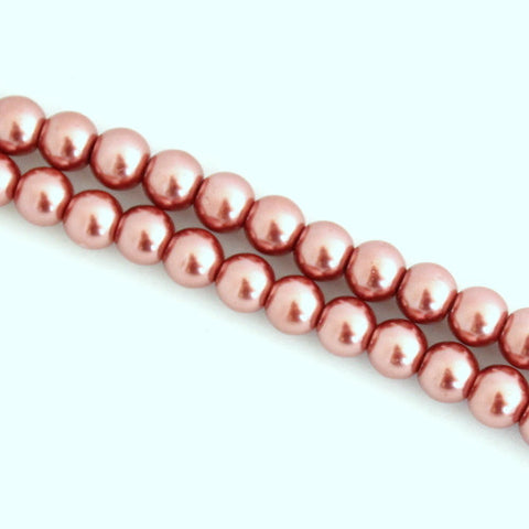 Glass Pearls - Copper - 4mm, 6mm, 8mm