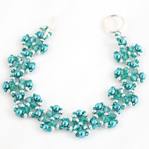 Crystal Flower Bracelet Kit Makes 6 - Teal