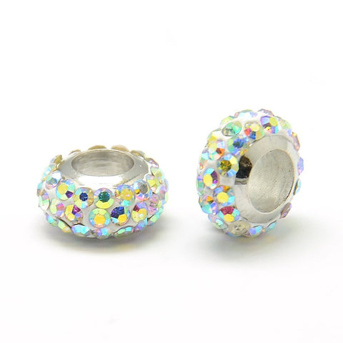 Diamante A Grade Large Holed Bead - Crystal AB