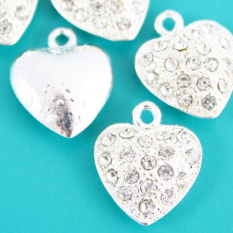 Heart Charm - Diamante Silver Plated