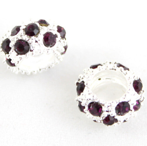 Diamante Large Holed Bead - Purple