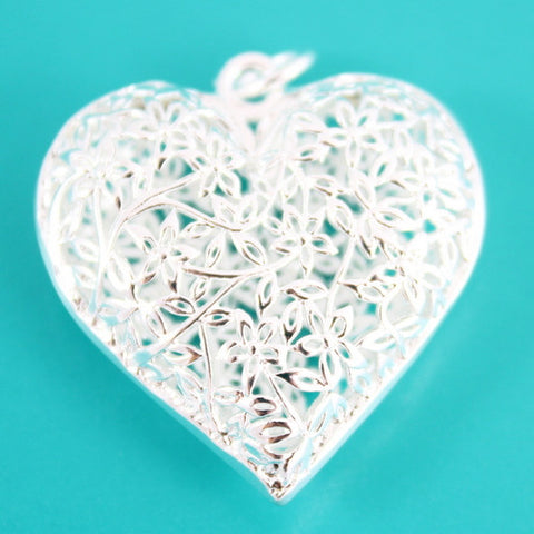 Filigree Leaf Heart Charm - Silver Plated