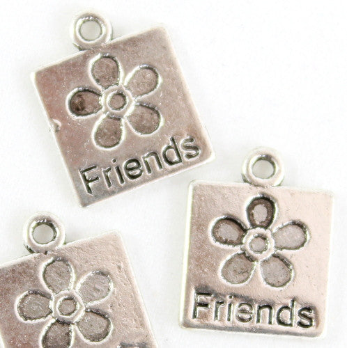 Friends Square Charm - Silver Plated